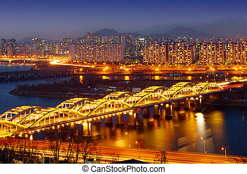 Cityscape of Hangang bridge in korea
