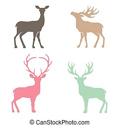 Various silhouettes of deer . - Various silhouettes of deer...
