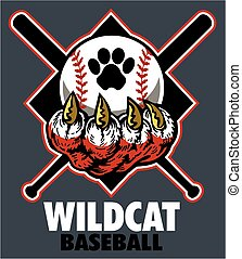 wildcat baseball team design with claw for school, college...