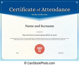 Certificate of attendance template in vector for achievement...