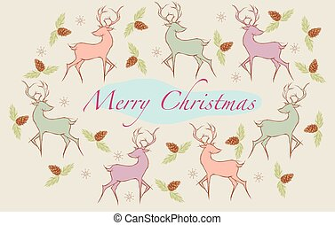Christmas card with snowflakes and pine cones and deer