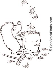 white background vector illustration of a Hedgehog collect...