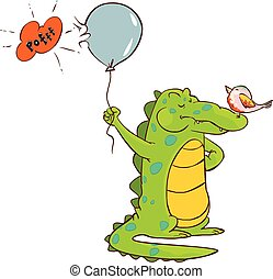 vector illustration of a cute crocodile holding balloons