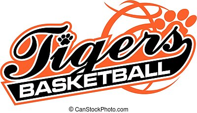 tigers basketball team design with script and tail for...