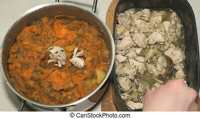 Chicken meat and vegetable ragout n a saucepan - Adding the...