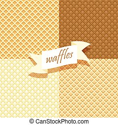 Set of Wafer Patterns Waffels Endless texture