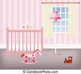 Baby Room for Girl With Furniture Nursery Interior Vector...