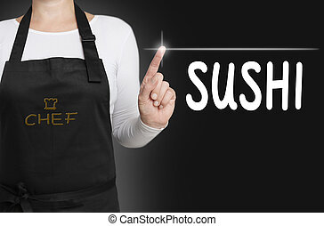 sushi touchscreen is operated by chef