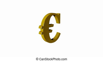 Euro sign rotating isolated, seamless loop, white screen