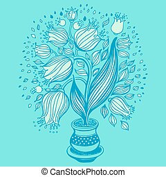 Drawing of beautiful tulips in a pot.