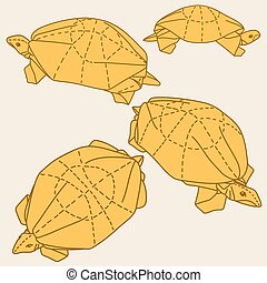 Origami turtles drawing illustration set on gray background...