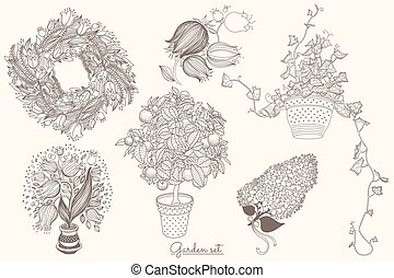 Garden set with 6 plants in flowerpot
