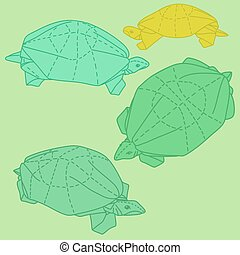 Origami turtles drawing illustration set on white background...