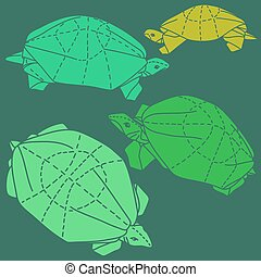 Origami turtles drawing illustration set on green background...