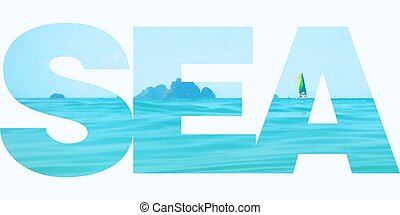 Vector illustration of the sea in letter clipping mask