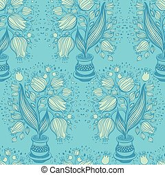 Seamless pattern with stylize drawing of tulips in a pot. -...