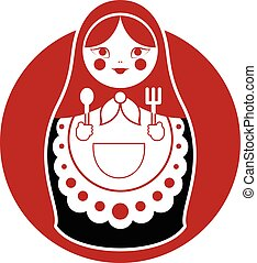 Russian cooking Matreshka - Vector image of a russian food...