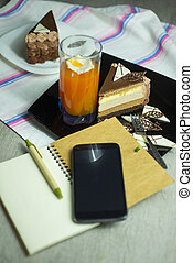 Dessert-slace of cake - Top view slice of cake on plate,...