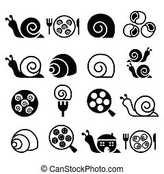 Snails, French snail meal escargot - Vector icons set of...