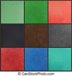 Auf, gefärbt, Leder, Sammlung, Hintergruende, schließen