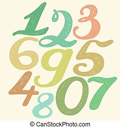 Numbers set in hand drawn calligraphy style. Vector design...