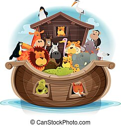 Noah's Ark With Cute Animals - Illustration of cute cartoon...