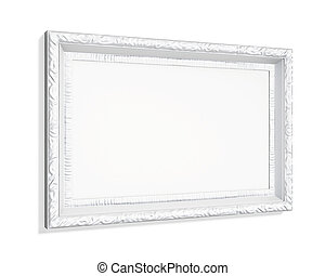 White carved picture frame isolated on white background 3d...