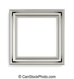Square silver picture frame on white background 3d rendering...