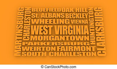 West Virginia state cities list - Image relative to USA...