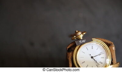 time text and old pocket watch