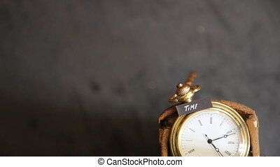 time text and old pocket watch - time idea - vintage pocket...
