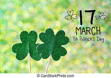 Saint Patricks Day shiny green clovers - Saint Patricks Day...