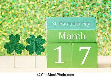 Saint Patricks Day green clover with calendar - Saint...