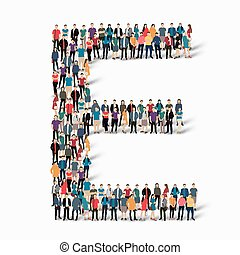group people shape letter E vector - A large group of people...
