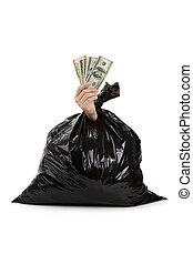 Lixo, saco, dólar