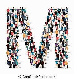 group people shape letter M vector - A large group of people...