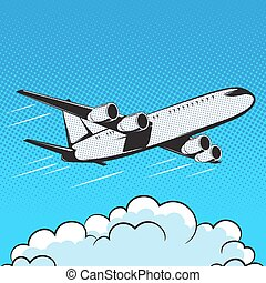 aircraft retro style pop art air - aircraft in retro style...