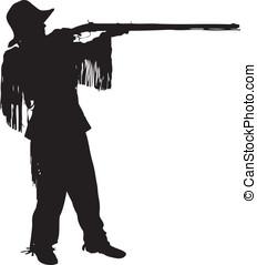 Silhouette of a young mountain man - Mountain man shooting...