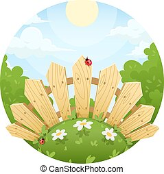 Wooden fence on lawn with flower. Vector illustration....
