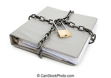 Confidential Document - Lock and file folder, concept of...