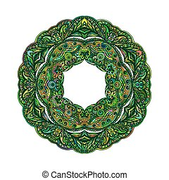 Patterned Decorative Element form Ring in Green on White