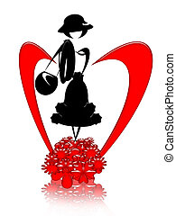 Graceful Lady - Graceful lady with handbag and hearts,...