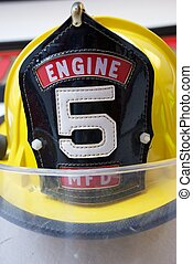 Yellow Fireman\'s Hat with Number 5 on the Front