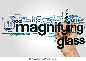 Magnifying glass word cloud concept with lens zoom related...