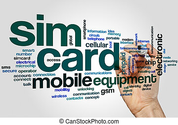 Sim card word cloud concept