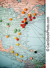 Travel Map with Push Pins with Focus Centered on New York...
