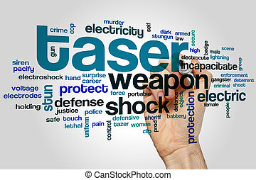 Taser word cloud concept with shock protection related tags