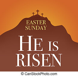 Risen Christian Easter Illustration