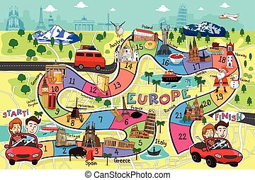 Travel Board Game Design - A vector illustration of Europe...