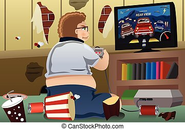 Overweight Man Playing Game - A vector illustration of...